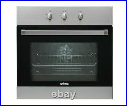 60cm Black Built In Single Electric Fan Forced Oven Kitchen Stainless Steel