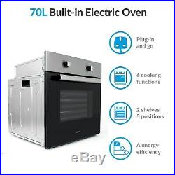 70 litre 6 Function Built in Static Electric Single Oven in Stainless Steel