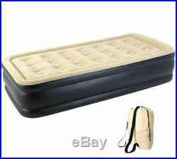 Inflatable High Raised Single Air Bed Mattress Airbed W Built In Electric Pump