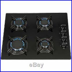 SIA 60cm Black Built In Electric Single Fan Oven, 4 Burner Gas Hob & Cooker Hood